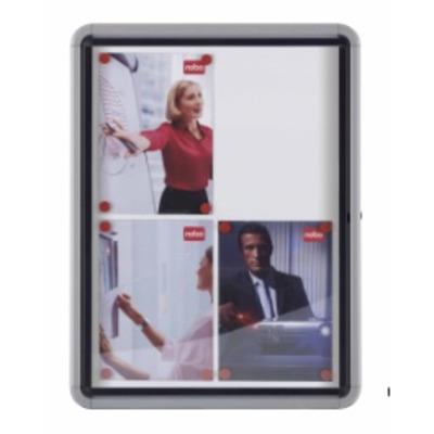 Nobo Glazed Case Prikbord - Grijs, Transparant, Wit