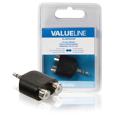 Valueline Audio-adapter 3.5 mm male - 2x RCA female zwart Kabel adapter