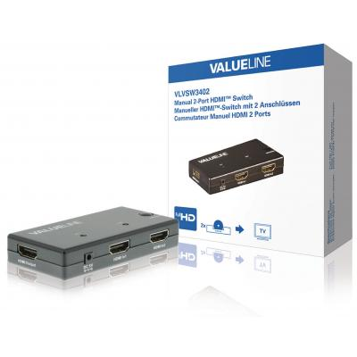 Valueline video switch: 2x HDMI In, HDMI out, 1920 x 1080, 2.25 Gbps, 225 MHz, Zwart