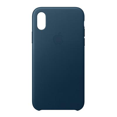 Apple mobile phone case: Leren hoesje voor iPhone X - Kosmosblauw