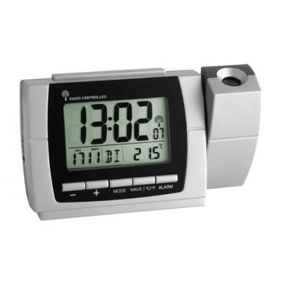 Tfa wekker: 60.5002 - Radio controlled projection clock with thermometer - Zilver