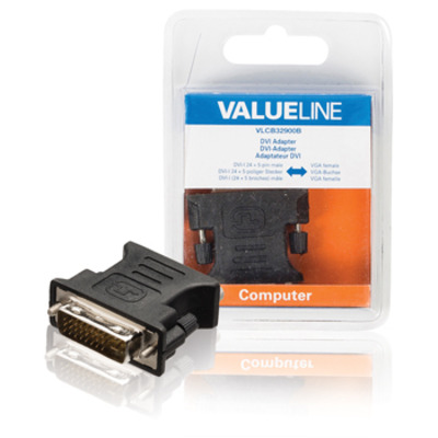 Valueline DVI-I/VGA Kabel adapter - Zwart