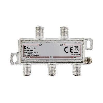 König kabel splitter of combiner: 4-wegs CATV F-splitter 5 - 1218 MHz - Zilver