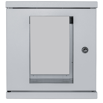 "Intellinet 10"" Wallmount Cabinet, 6U, 320 (h) x 300 (w) x 300 (d) mm, Max 60kg, Assembled, Grey Rack - Grijs"