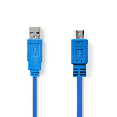 Nedis USB 2.0 Cable, A Male - Micro B Male, 1.0 m, Blue USB kabel - Blauw