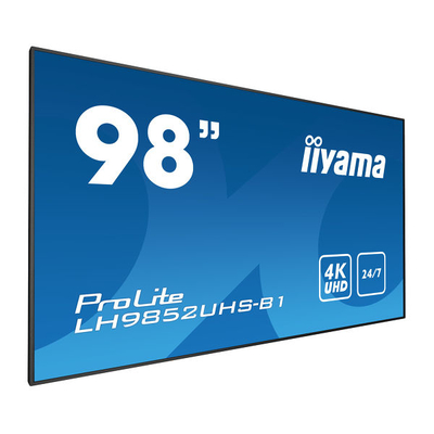 "Iiyama 98"" S-IPS LED, 3840 x 2160, 500 cd/m², 1300:1, 8ms Public display - Zwart"