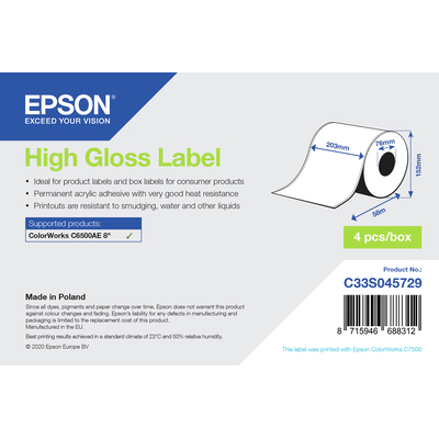 Epson High Gloss Label - Continuous Roll: 203mm x 58m Etiket - Wit