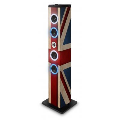 Bigben interactive home stereo set: Stijlvolle vloerstaande luidspreker met afbeelding van de Britse vlag en LED .....