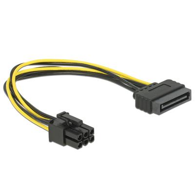 DeLOCK Cable Power SATA 15 pin > 6 pin PCI Express - Zwart,Geel