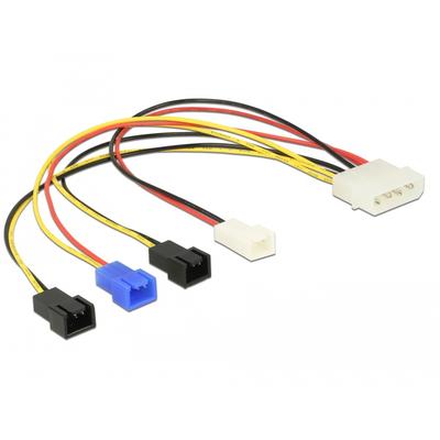 DeLOCK Cable Power supply Molex 4 pin male > 4 x 2 pin fan (12 V / 7 V / 5 V) 20 cm - Multi kleuren