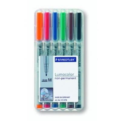 Staedtler markeerstift: Lumocolor Non-Permanent Universal Pen, Set of 6 Colours in Box, Line Width M - medium ( 1.0 mm) .....