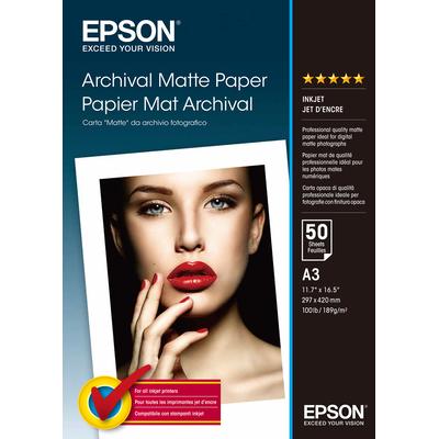 Epson Archival Matte Paper, DIN A3, 189g/m², 50 Vel Fotopapier - Wit