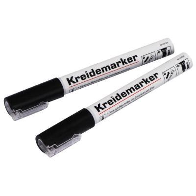 Hama markeerstift: Chalk Markers, round tip, set of 2 pieces, black