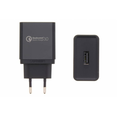 Wall Charger with Qualcomm Quick Charger 3A - Zwart / Black Mobile phone case