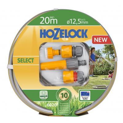 Hozelock tuinslang: Tuinslangset Select Ø 12,5 mm 20 meter inclusief startset koppelingen & tuinspuit - Grijs, Geel