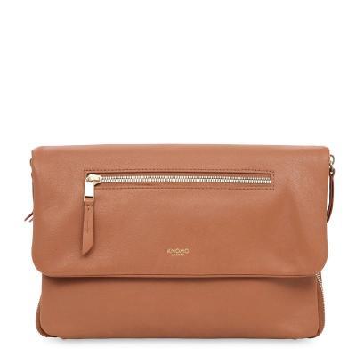 Knomo vrouwen-handtas: Elektronista Clutch Leather 10 Caramel - Bruin