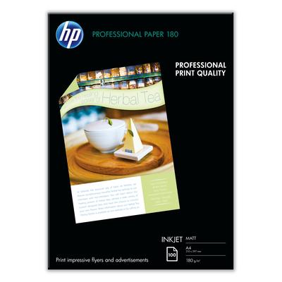 Hp papier: Professional inkjetpapier, mat, 100 vel, A4/210 x 297 mm - Wit