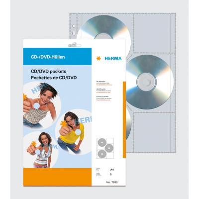 Herma : CD/DVD pockets, 306.5x233 mm 5 pockets - Transparant