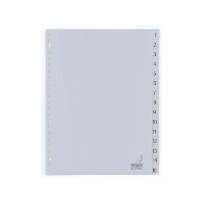 Kangaro Tabblad A4 cijfers PP 120mµ grijs 23r 15dlg Indextab