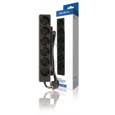 Valueline batterij: Valueline, 6-wegs Schuko Stekkerdoos Kabel 1,5m (Zwart)