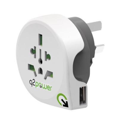 Q2-power stekker-adapter: 3-pole, 100V – 250V, 10A - Wit