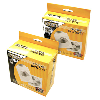 Fellowes 50x CD enveloppen papier - Transparant, Wit