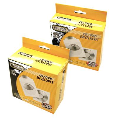 Fellowes CD enveloppen papier, 50pk - wit - Transparant,Wit