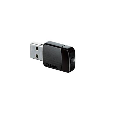 D-Link Wireless AC Dual Band USB Adapter, 1 x USB 2.0, 802.11ac/b/g, WPS / WPA / WPA2 Netwerkkaart - Zwart