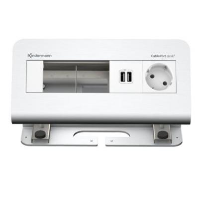 Kindermann CablePort desk 4- Alu 1x mains 2x USB2.0 Inbouweenheid - Aluminium, Wit