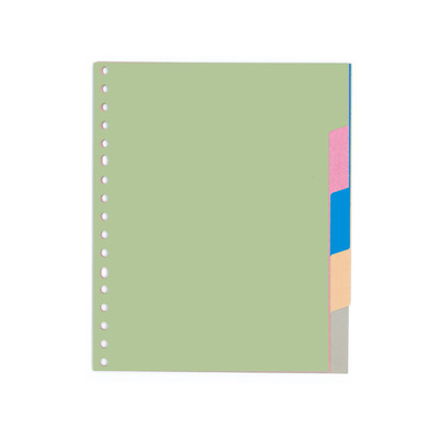 Kangaro Tabblad A5 blanco karton 180grs ass. 17r 5dlg Indextab - Groen, Multi kleuren
