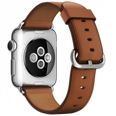 Apple : Zadelbruin bandje, klassieke gesp, 38 mm