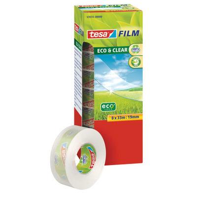 Tesa plakband: 33 m / 19 mm, 8 rollen - Transparant