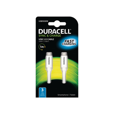 Duracell 1M USB Type-C Sync/Charge Cable Oplader - Wit