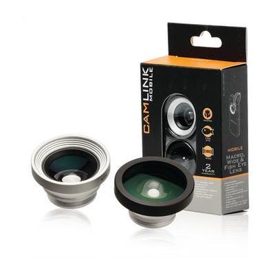 Camlink : Macro / Wide Angle / Fish Eye, 20 mm, Macro, Silver / Black, Aluminium / ABS, 180 ° - Zwart, Zilver