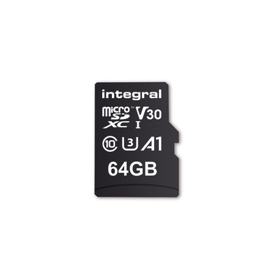 Integral INMSDX64G-100V30 64GB MICRO SD CARD MICROSDXC UHS-1 U3 CL10 V30 A1 UP TO 100MBS READ 45MBS WRITE .....