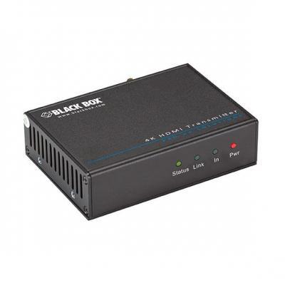 Black box AV extender: Video Extender - 4K, HDMI, IR, RS-232 Transmitter, 2.5mm DC, RJ-45 F, HDMI F, RS-232 F, IR, 70m, .....