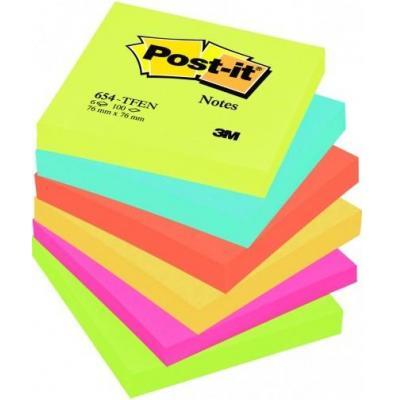 3m zelfklevend notitiepapier: M654TFEN - Blauw, Groen, Oranje, Roze, Geel