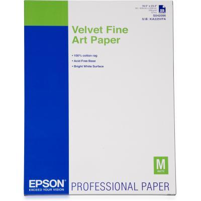 Epson grootformaat media: Velvet Fine Art Paper, DIN A2, 260g/m², 25 Sheets