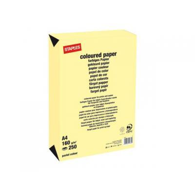 Staples papier: Papier SPLS A4 160g kanariegeel/pk 250v