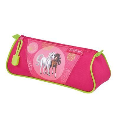 Herlitz potlood case: Spring Horses - Groen, Roze
