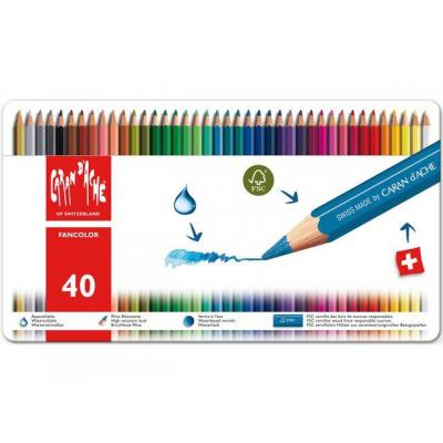 Caran d-ache potlood: Fancolor 12's - Multi kleuren, Rood, Wit
