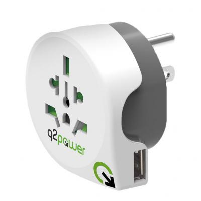 Q2-power stekker-adapter: 3-pole, 100V – 250V, 10A - Grijs, Wit