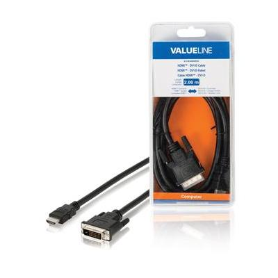 Valueline HDMI - DVI-D-kabel HDMI-connector - DVI-D 24 + 1-pins mannelijk 2.00 m zwart