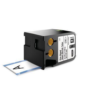 "Dymo labelprinter tape: XTL 2-1/8"" x 1-7/8"" (54 mm x 47 mm) voorgesneden krimpkous, zwart op wit"