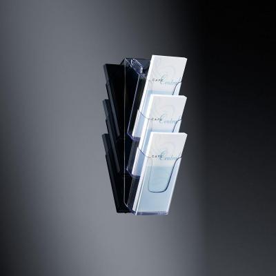 Sigel ordner: Wandhouder voor folders acrylic, met 3 vakken, glashelder, voor DL en A6 - Transparant