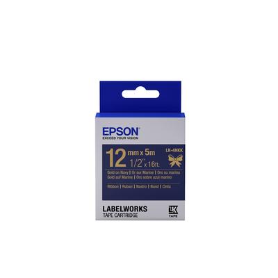 Epson Label Cartridge Satin Ribbon LK-4HKK, goud/marineblauw 12 mm (5 m) Labelprinter tape