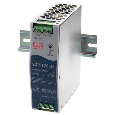 Black Box 120 W, DC 24 V, 5 A, 91 %, 40 x 113 x 125 mm, 700 g Power supply unit - Blauw,Roestvrijstaal