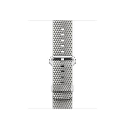 Apple : Bandje van geweven nylon - Wit (geruit, 38 mm) - Zilver, Wit
