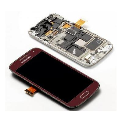 Samsung mobile phone spare part: GT-I9195 Galaxy S4 Mini, Complete Front+LCD+Touchscreen, red