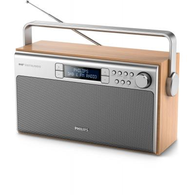Philips radio: Draagbare radio AE5220/12 - Metallic, Hout